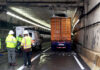 Truck stuck in tunnel