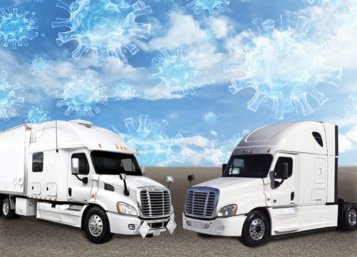 trucks in front of blue sky