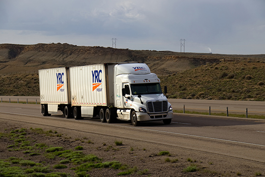 YRC truck with double trailer
